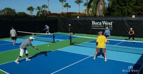 Playing Pickleball at Boca West